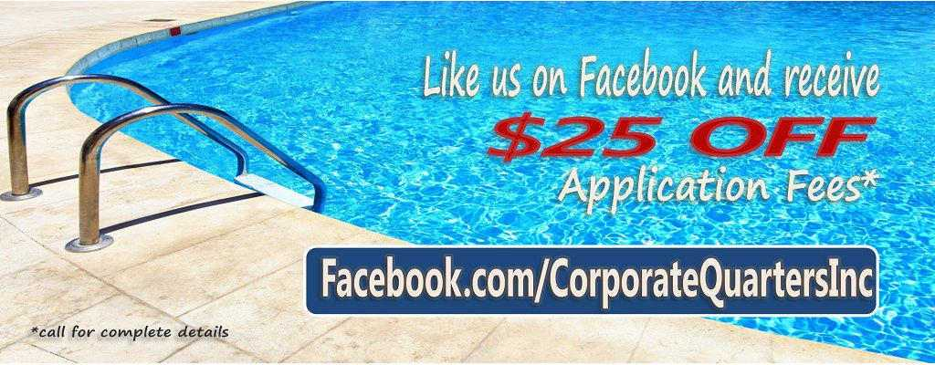 Like us on Facebook and receive $25 off application costs.